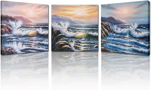 Kreative Arts 日落海景现代画廊包装帆布印刷画,多色,3 件