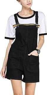 Flygo 女式时尚宽松围兜牛仔短裤工装短裤