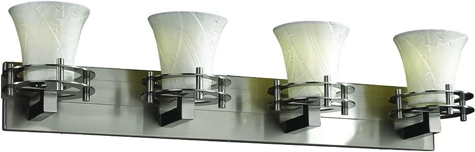 Justice Design Group Limoges 4 灯浴杆 - 拉丝镍表面,香蕉叶半透明瓷镜