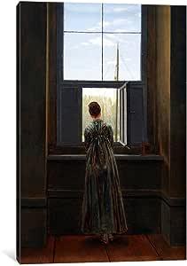 icanvasart 1件 WOMAN AT THE window 帆布印刷品 Caspar David friedrich