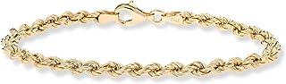 MiaBella 18K 金纯银 4 毫米意大利经典绳链手链 17.78 厘米-20.32 厘米