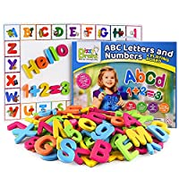 BizzyBrainz ABC磁铁+磁性板/磁性字母和数字,适合幼儿的电子书包括35+学习和拼写游戏/字母磁贴