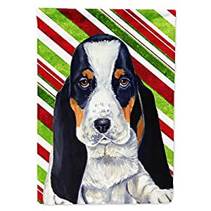 Basset Hound Candy Cane Holiday Christmas Flag 多色 大