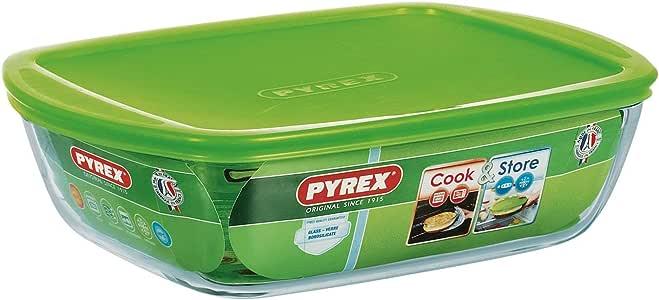 Pyrex 透明矩形模具 带盖子 Transparent/Grün 28 x 20 x 8 cm