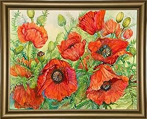 Frame USA Poppies At Their Peak 装裱画 62.23cm x 80.64cm Joanne Porter-JOAPOR134445,24.75x31.75,Bistro Gold