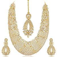 Sukkhi Gold Plated Australian Diamond Choker Necklace With Dop Earring & Mangtika For Women
