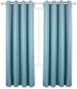 Deconovo 隔热窗帘遮光窗帘索环褶裥大理石设计纹理浮雕窗帘适用于客厅 天蓝色 52W x 84L CT1051D-2
