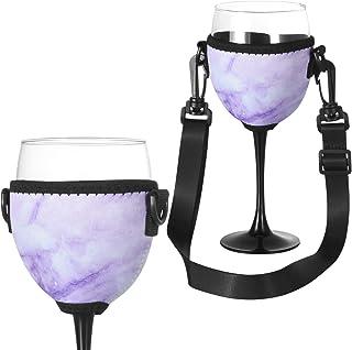 Beautyflier 酒杯隔热器/饮料架/氯丁橡胶套,配有可调节颈带,适合酒吧散步 Marble Purple