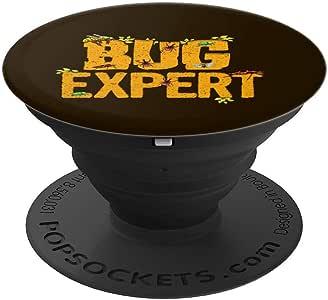 Bug Expert! 有趣的 Entomology 礼物 PopSockets 手机和平板电脑握架260027  黑色