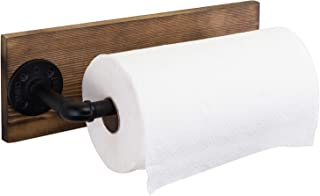 MyGift Industrial Pipe & Brown Wood Wall Mounted Paper Towel 支架