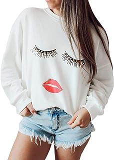 NEXLOMOS 女式骷髅印花嘴唇长袖女孩青少年白色圆领运动衫
