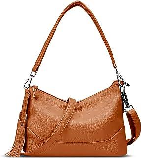 VOLCANIK ROCK 皮革流苏拉链水桶斜挎包,带 2 个可拆卸肩带,女士肩挎包和手提包 棕色 中号