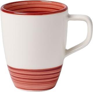 Villeroy & Boch Manufacturture Rouge 咖啡杯,手绘鳄鱼瓷,白色和红色,370 ml