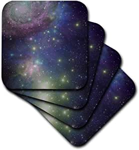 3dRose cst_112990_3 Stars Galaxies and Nebulas Navy Night Sky Blue and Purple Space Photography Collage- Astronomy-Ceramic Tile Coasters, Set of 4