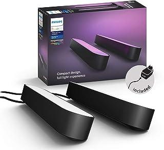 Philips 飞利浦 Hue White and Color Ambiance Play Lightbar 氛围灯,可调光,多达1600万种颜色,App控制,兼容Amazon Alexa,双个装,黑色