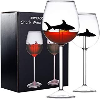 GENNISSY 鲨鱼红酒杯 2 件套,适合品酒、生日、周年纪念或婚礼的*礼物,10 盎司鲨鱼红酒杯高脚杯无铅高级水晶透明玻璃 Black Shark Wine Glass Wine Glass