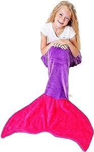 """可爱毛毯 美人鱼尾毛毯 - 超柔软保暖绒布毯 适用于儿童和青少年(3-12岁)É Dark Purple and Hot Pink Kids (56"""" x 20"""") 744309123434"""