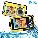 防水摄像机全高清 1080P 适用于浮潜 24.0 MP 水下相机 2.7 英寸 TFT-LCD 双屏防水数码相机(黑色) 深黄色