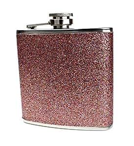 不锈钢带彩色闪耀随身*瓶 - 可储存 170g - 小号,适合大多数袋 玫瑰金 均码 glitterflask-3-rosegold