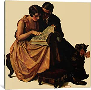 """iCanvasART Young Couple Looking At Catalogue Canvas Print by Norman Rockwell, 12 by 12""""/0.75"""" Deep"""