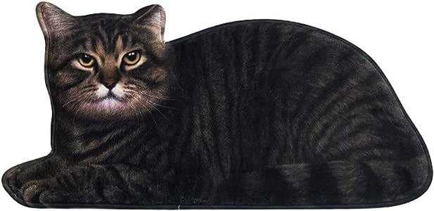 Moonter 小地毯 3D 猫形地毯防滑浴室垫猫垫小地毯装饰客厅卧室厨房浴室小猫地毯婴儿爬行地毯瑜伽垫 黑色 16.5 X 33.5 Inch