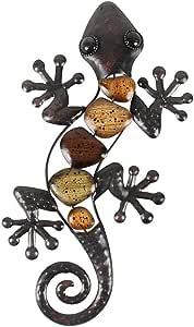 Liffy 金属蜥蜴墙艺术装饰玻璃室外花园装饰深色,38.10 cm 长 Lizard #1 LH04135-lizard-Realistic