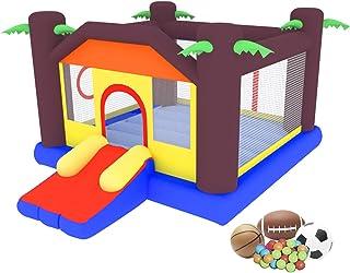 OTTARO 儿童充气弹跳屋,跳跃和滑梯城堡蹦床,带球窝,适用于户外和室内,耐用缝制弹跳器包括便携包,修理套件,桩子(不含鼓风机)