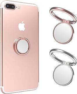 ICHECKEY 手机环支架,2 件装 360° 旋转通用指环支架带金属手机环磁性车载支架兼容所有智能手机、平板电脑、玫瑰金和银色