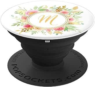 黄色夏季花卉花环交织字母字母 M - PopSockets 手机和平板电脑抓地力与支架260027  黑色