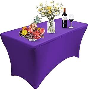 Reliancer 2 件装 4\6\8FT 长方形氨纶桌布四向紧身弹性桌布,适合户外派对 DJ 展会宴会商宴会商婚礼庆典 紫色 1PC 6FT