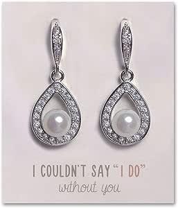 伴娘耳环,青少年-伴娘礼物,银色珍珠耳坠