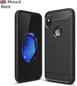 iPhone X 手机壳,Vafru 保护套具有弹性减震和碳纤维设计 Apple iPhone X 黑色(黑色)