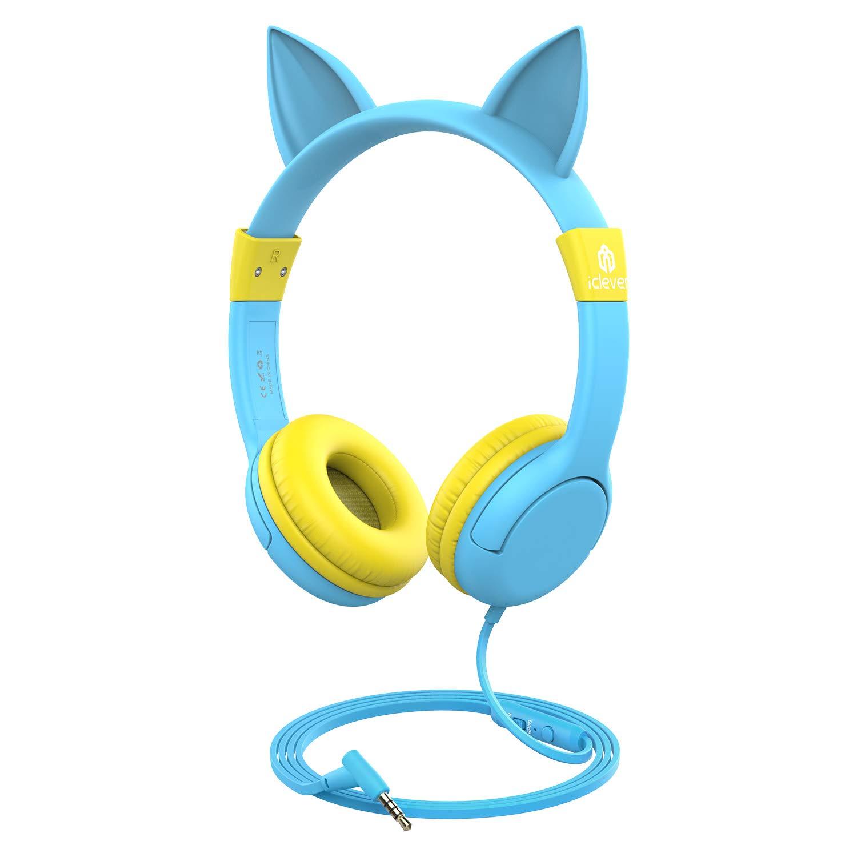 iclever 儿童耳机 cat-inspired WIRED 头戴式耳机带85DB VOLUME LIMITED 食品级硅胶材质 (kids-friendly) 3.5mm 音频插座电缆 children 耳机适用于儿童粉色 蓝色