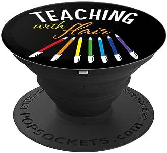 Teaching With Flair Pen 趣味圣诞礼物老师 PopSockets 手机和平板电脑握架260027  黑色