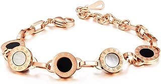 HOWIE Jewelry 男式和女式不锈钢*陶瓷环形手链 18K 金、玫瑰金、镀银