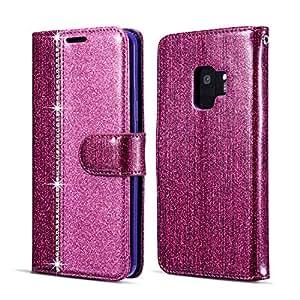 三星闪亮皮革钱包式手机壳 [钻石扣] [卡槽] [磁扣]714438 Samsung Galaxy S8 紫色 #2