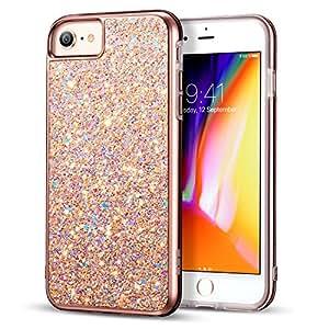 iPhone 4手机壳 iPhone 7手机壳 ESR 闪耀硬盖带双层结构 [ 硬质 PC 后盖外 + 软 TPU inner ] 适用于苹果15.4英寸 iphone 8/ iphone 7 Metallic Peach