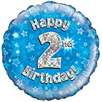 Oaktree UK 18-Inch Happy 2nd Birthday Holographic Foil Design Balloons, Blue