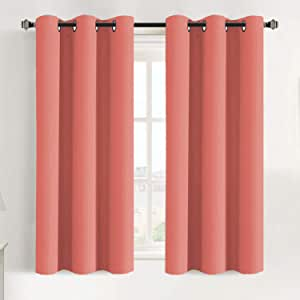 FlamingoP Window Treatment Energy Saving Thermal Insulated Solid Grommet Blackout Curtains /Drapes for Living Room (Two Panels, 42 by 63-Inch, Coral)