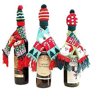 Dr.Luck 针织毛衣 葡萄*瓶套圣诞装饰 winebottle scarf