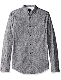 A|X Armani Exchange 阿玛尼男式图案长袖棉扣角领