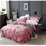 美国 mittaGong 一片枫情 花边加厚磨毛纯棉床上四件套1.5/1.8/2.0米床上用品套件 (1.8-2.0M, 玛莎拉红)