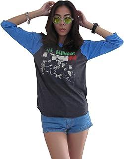 Bunny Brand 女士 The Kinks Band 80 年代音乐插肩 T 恤灰色