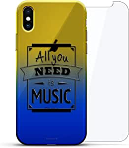 Luxendary 设计师保护玻璃套装手机壳 iPhoneLUX-IXCRM2B360-QMUSIC1 QUOTE: All You Need is Music Quote 蓝色(Dusk)