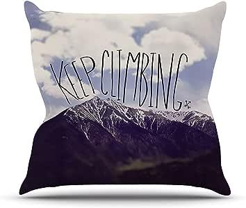 """Kess InHouse Leah Flores Keep Climbing Mountain 引言户外抱枕 20"""" x 20"""" 蓝色 LF1002AOP04"""
