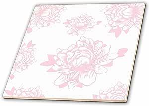 3dRose PS 花朵 - 漂亮别致的粉色花朵艺术 - 瓷砖 白色 4-Inch-Ceramic ct_164474_1