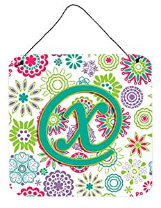 Caroline's Treasures Letter X Flowers Pink Teal Green Initial with Wall or Door Hanging Prints, 6 x 6""