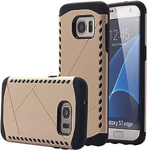 Galaxy S7 Edge 手机壳,PandawellTM 混合减震双层硬质电脑带硅胶橡胶防护装甲保护壳适用于三星 Galaxy S7 Edge5050300 金色