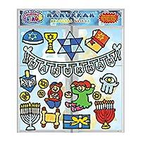 Hanukkah 柔性凝胶吸附 - 儿童墙壁和玻璃窗贴 - Chanukkah 节日吸附膜、Menorah、Dreidel、Geld、Torah 等凝胶贴花 - 家庭、飞机、教室、幼儿装饰