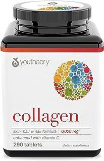 Youtheory 胶原蛋白补充剂 富含维生素C,290粒(1瓶)